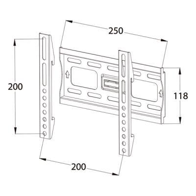 Кронштейн для телевизора Tuarex OLIMP-7005 Dark Gray - габаритные размеры
