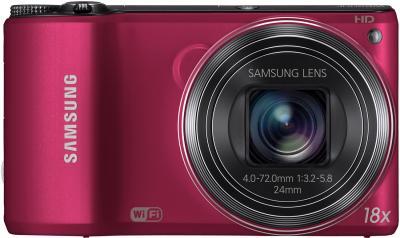 Компактный фотоаппарат Samsung WB200F (EC-WB200FBPRRU) (Red) - вид спереди