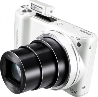 """Компактный фотоаппарат Samsung WB250F (EC-WB250FBPWRU) White - объектив в положении """"теле"""""""