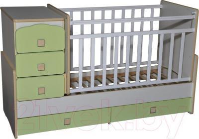 Детская кровать-трансформер Антел Ульяна-2 (белый/зеленый бархат)