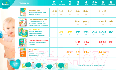 Подгузники-трусики Pampers Premium Care Pants 4 Maxi (44шт) - таблица размеров