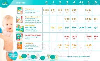 Подгузники-трусики Pampers Premium Care Pants 3 Midi (56шт) - таблица размеров