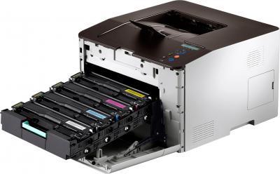 Принтер Samsung CLP-415N - общий вид с картриджами
