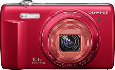 Компактный фотоаппарат Olympus VR-350 Red - вид спереди