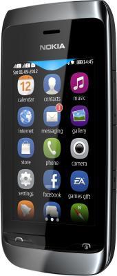 Мобильный телефон Nokia Asha 308 Black - вид полубоком