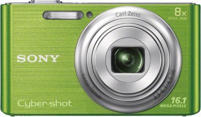 Компактный фотоаппарат Sony Cyber-shot DSC-W730 Green - вид спереди