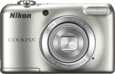 Компактный фотоаппарат Nikon Coolpix L27 Silver - вид спереди с закрытым объективом