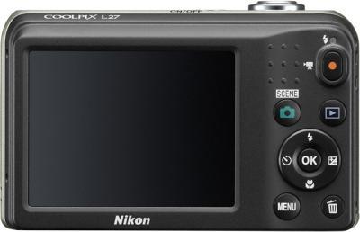 Компактный фотоаппарат Nikon Coolpix L27 Silver - вид сзади