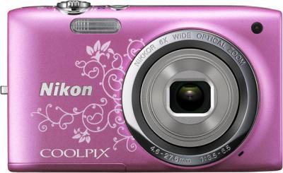 Компактный фотоаппарат Nikon Coolpix S2700 Pink Patterned - вид спереди