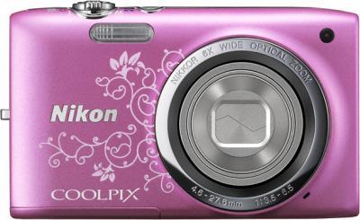 Компактный фотоаппарат Nikon Coolpix S2700 Pink Patterned - вид спереди с закрытым объективом