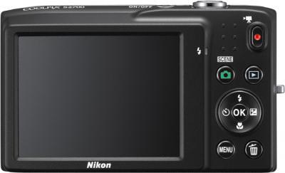 Компактный фотоаппарат Nikon Coolpix S2700 Black - вид сзади: дисплей