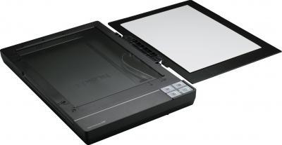 Планшетный сканер Epson Perfection V37 - общий вид (открытие крышки на 180° для сканирования толстых книг и журналов)