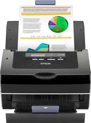 Протяжный сканер Epson GT-S85N - общий вид (открытые лотки)