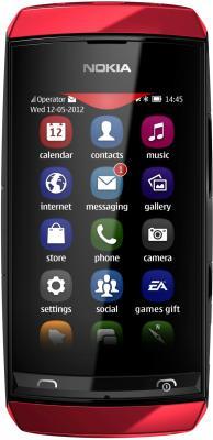 Мобильный телефон Nokia Asha 306 Red - общий вид