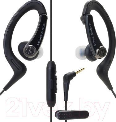 Наушники-гарнитура Audio-Technica ATH-SPORT1iS (черный)