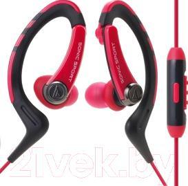 Наушники-гарнитура Audio-Technica ATH-SPORT1iS (красный)
