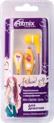 Наушники-гарнитура Ritmix RH-012M Girls (желтый)