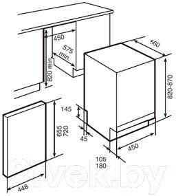 Посудомоечная машина Teka DW7 41 FI - схема встраивания