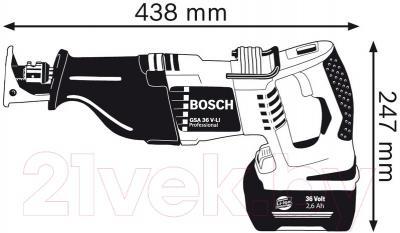 Профессиональная сабельная пила Bosch GSA 36 V-LI Professional (0.601.645.R02)