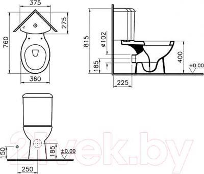 Унитаз напольный VitrA Arkitekt 9754B003-7200