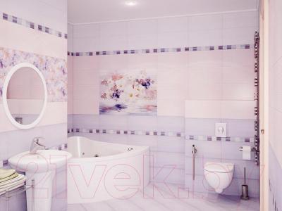 Бордюр для ванной Уралкерамика Акварель БД57АК305 (500x60.7, синий/розовый)