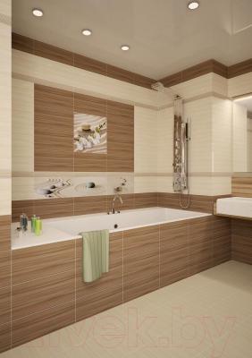 Декоративная плитка для ванной Уралкерамика Релакс ВС9РЛ024 (500x249, белый/коричневый)