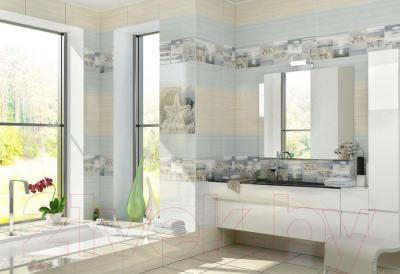 Декоративная плитка для ванной Уралкерамика Релакс ВС9РЛ034 (500x249, белый/коричневый)