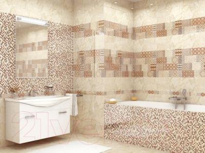 Плитка для пола ванной Уралкерамика Помпеи Астория ПГ3АТ004 (418x418, белый/коричневый)