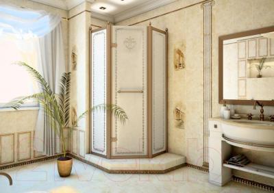 Бордюр для ванной Уралкерамика Помпеи БД33ПМ004 (249x67, белый/коричневый)