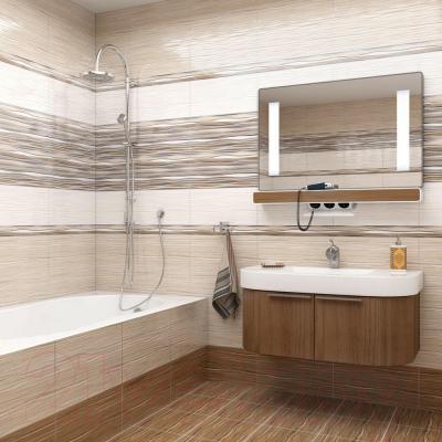 Плитка Уралкерамика Плессо ПО9ПЛ024 (500x249, белый/коричневый)