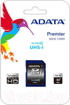 Карта памяти A-data Premier SDHC UHS-I U1 (Class 10) 16 GB (ASDH16GUICL10-R)