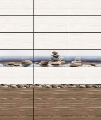 Бордюр для ванной Уралкерамика Плессо БД56ПЛ406 (500x50, коричневый/голубой)
