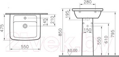 Умывальник VitrA Form 300 (9602B003-7650) - схема