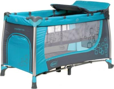 Кровать-манеж 4Baby Moderno (синий) - общий вид