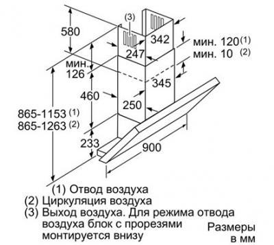 Вытяжка декоративная Siemens LC98KB540 - схема