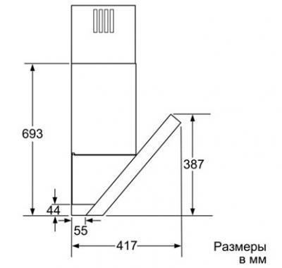 Вытяжка декоративная Siemens LC98KB540 - схема (сбоку)
