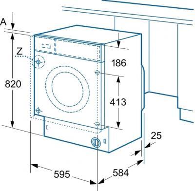 Стиральная машина Siemens WK14D540OE - схема встраивания