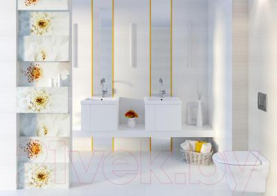 Декоративная плитка Opoczno Панно Tensa/Diago White Flower OD694-004 (600x594)