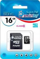 Карта памяти SmartBuy microSDHC (Class 10) 16 Гб + SD адаптер (SB16GBSDCL10-01) -