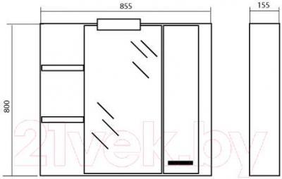 Шкаф с зеркалом для ванной Аква Родос Маттео 90 R
