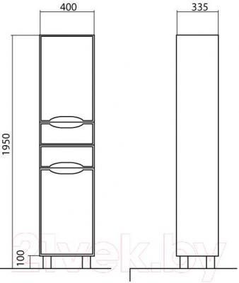 Шкаф-пенал для ванной Аква Родос Венеция 40 R (напольный)