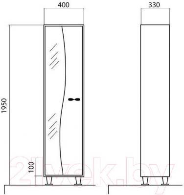 Шкаф-пенал для ванной Аква Родос Соло 40 L
