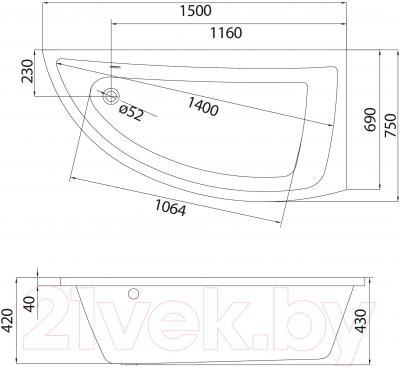 Ванна акриловая Cersanit Nano 150x75 R