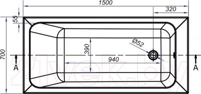 Ванна акриловая Cersanit Blissa 150x70