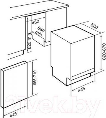 Посудомоечная машина Teka DW1 457 FI INOX (40782995) - схема встраивания