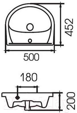 Умывальник Cersanit Erica 50x45.2 / S-UM-ERI-50-1-W