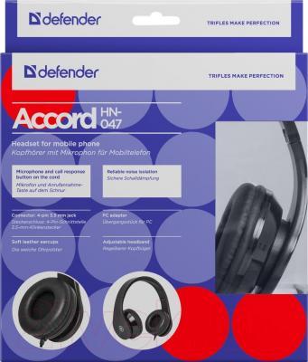 Наушники-гарнитура Defender Accord HN-047 / 63047 (черный) - упаковка