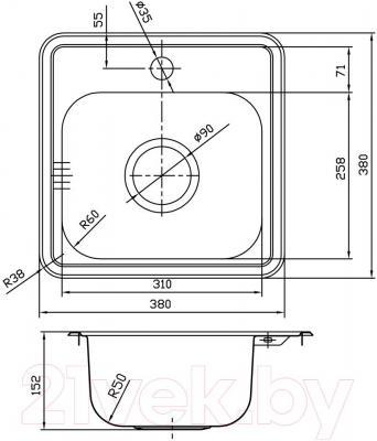 Мойка кухонная Iddis Strit STR38S0i77
