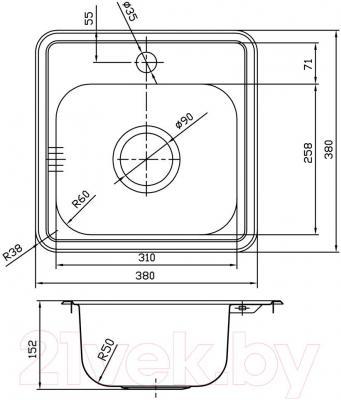 Мойка кухонная Iddis Strit STR38P0i77
