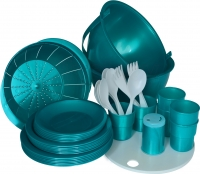 Набор пластиковой посуды Белпласт Пикник с215-2830 (бирюзовый) -